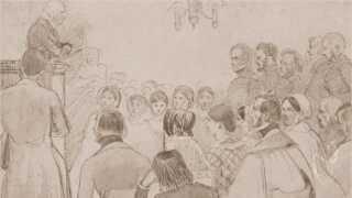 Grundtvig på talerstolen under Brage-Snak foredragene på Borchs Kollegium. Tegnet af Johan Thomas Lundbyen i 1843.