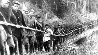 Fanger i Gulag-arbejdslejr i Rusland, 1929.