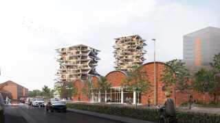 Hvert tårn i Esbjerg Towers bliver opført omkring en sekstenkantet klimaskærm, der går lige op og ned og har en kerne med elevatorer og trappe i midten og en rund gang med indgang til ungdomsboligerne.