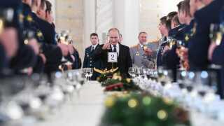 Den russiske præsident, Vladmir Putin, udsendte en skål for de russiske soldater, der har deltaget i krigen i Syrien.