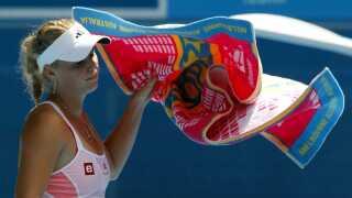 Caroline Wozniacki efter sit nederlag til Na Li i 2011.
