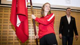 Elena Rigas blev præsenteret som dansk fanebærer ved et arrangement i Idrættens Hus i Brøndby i januar.