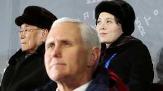 Den amerikanske vicepræsident Mike Pence (i midten), leder af det nordkoreanske parlament Kim Yong Nam (tv.) og Kim Yo Jong (th.), som er lillesøster til Nordkoreas leder Kim Jong-un.