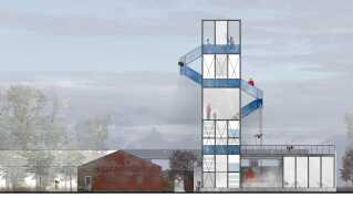 Forsamlingstårnet med rapelling og mange andre muligheder for fysisk udfoldelse.