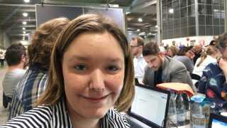 Camilla Pedersen under fagligt møde i Fredericia. (Foto: Mathias Sommer).