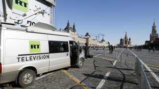 Her ses RT's vogn på den Røde Plads i Moskva.