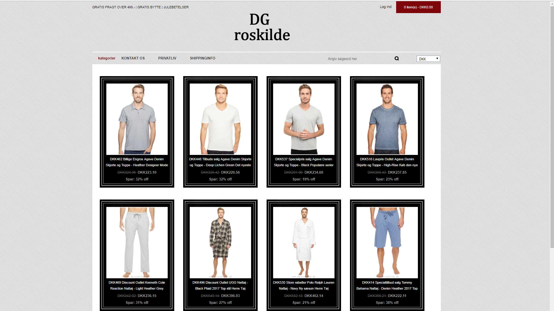 Screen-dump fra en fup-hjemmeside, som har taget domænet fra Roskilde Amts garderforening, hvor de nu tilsyneladende sælger herretøj til skæve priser på vrøvledansk.