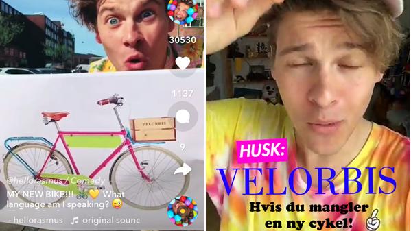 Til venstre viser Rasmus Kolbe sin nye Velorbis-cykel frem til sine 700.000 følgere på Musical.ly. Det er ikke markeret som reklame. Til højre et screendump fra reklamekampagnen på Snapchat.