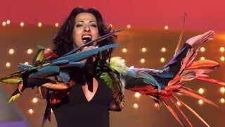 Dana International på scenen til Eurovision-finalen i 1998. Hun gav Israel sin tredje sejr i konkurrencen. Landet har vundet i alt fire gange: 1978, 1979, 1998 og 2018.
