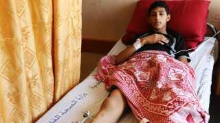 Abdulhafiz Abu Shaar er såret i foden, efter han deltog i demonstrationer ved grænsen til Israel.