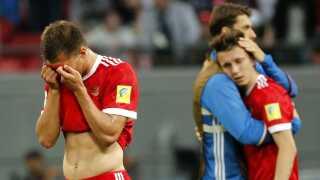 Rusland efter nederlaget til Mexico ved Confederations Cup i 2017. Nederlaget sendte russerne ud af turneringen.