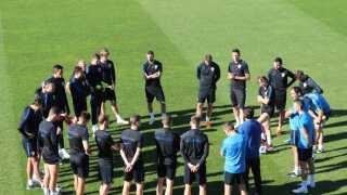 Luka Modric og det kroatiske landshold ved træningen i Roshchino.