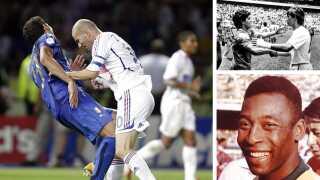 Zinedine Zidanes angreb på Marco Materazzi i VM-finalen i 2006 (til venstre) er en af VM-historiens mest ikoniske episoder. Øverst til højre hilser Diego Maradona og Gary Lineker på hinanden efter deres VM-kvartfinale i 1986. Og nederst ses Pelé, VM-historiens største spiller.