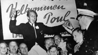 Efter OL i 1948 modtages den 20-årige guldvinder Paul Elvstrøm med hæder i hjembyen Hellerup.