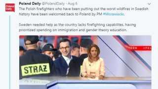 Den polske tv-stations opslag på Twitter, hvor indslaget om Sverige blev delt.