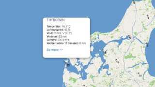 Klokken 07.40 var der kraftige vindstød nær orkanstyrke ved Thorsminde.