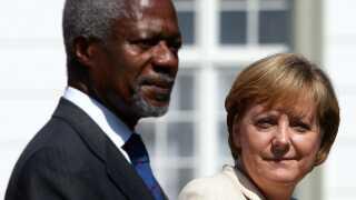 Kofi Annan og Tysklands kansler Angela Merkel.