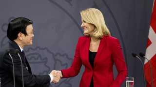 Også danske politikere spiller en stor rolle under statsbesøg fra udenlandske statsoverhoveder. Her er det daværende statsminister Helle Thorning-Schmidt, der mødes med Vietnams Præsident, Truong Tan Sang, under et statsbesøg i 2013.