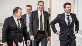 Tour De Frances løbsdirektør, Christian Prudhomme (i midten), deltager også i statsbesøget. Det kan tyde på, at Danmarks kamp for et få en eller flere etaper af løbet til Danmark er ved at bære frugt.