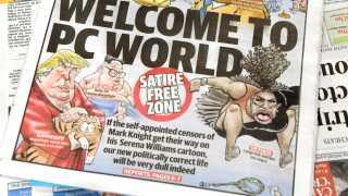 Serena Williams som hun var tegnet af Mark Knight i Sun Herald. Avisen har i dag bragt den på forsiden som et forsvar for avisens ret til at publicere uden selvcensur.