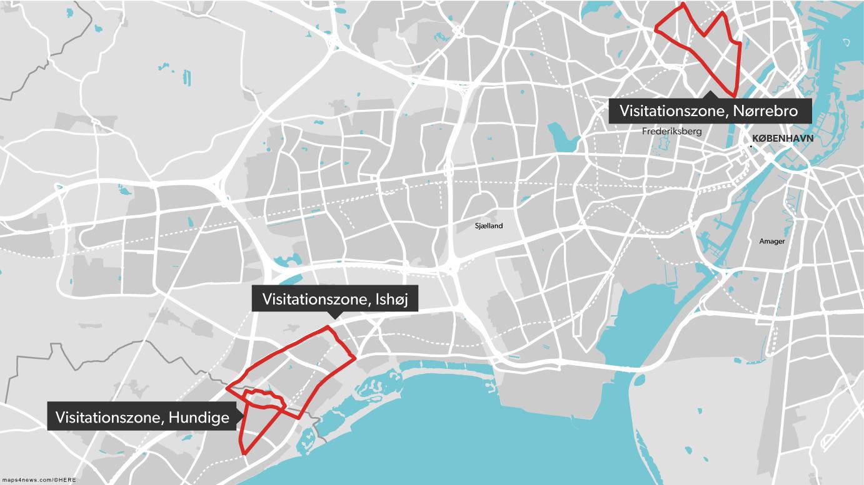 Der er lige nu oprettet tre visitationszoner i Hovedstadsområdet.