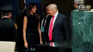 Den amerikanske førstedame, Melania Trump, fulgte med fra sidelinjen.