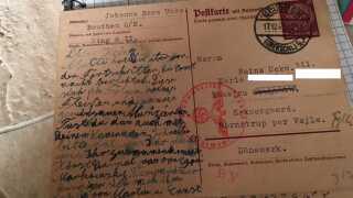 Et postkort sendt til Heinz Ucko i Danmark i 1941 fra nogle familiemedlemmer.