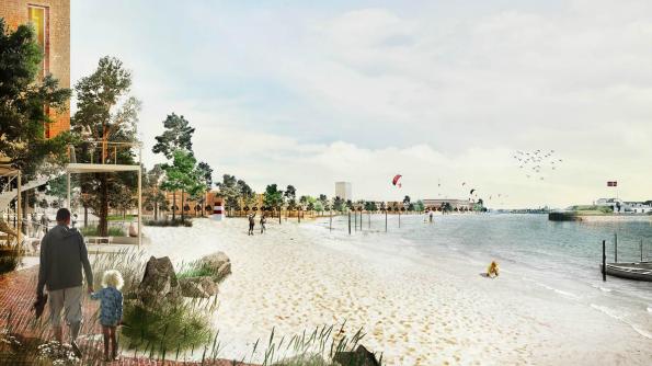En af de nye kyststrækninger med strand, der kommer på Lynetteholmen.