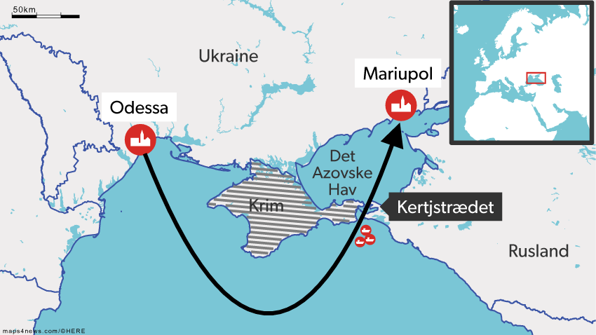 De ukrainske skibe blev stoppet, da de ville sejle fra Odessa til Mariupol. Rusland annekterede i 2014 Krim, men resultatet af folkeafstemningen er med få undtagelser ikke anerkendt internationalt.