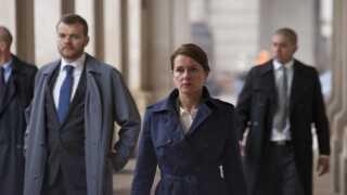 Sidse Babett Knudsen i rollen som statsminister Birgitte Nyborg i dramaserien 'Borgen'.