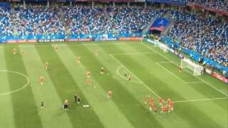 De danske landsholdsspillere varmer op inden den vigtige kampe VM-kamp mod Kroatien.