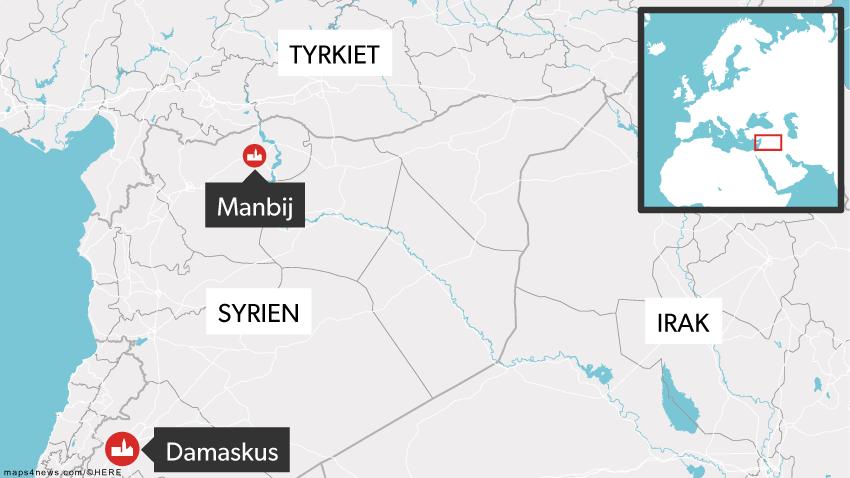 Manbij ligger tæt op af grænsen til Tyrkiet.