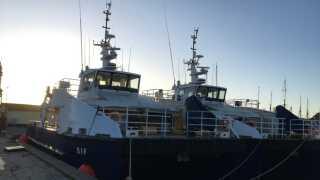 De to miljøskibe, som ligger i Svendborg Havn.