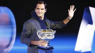 Roger Federer under lodtrækningen til Australian Open.