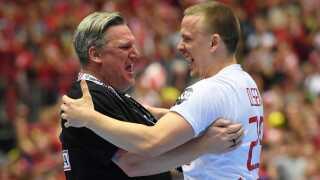 Nikolaj Jacobsen og Morten Olsen jubler efter VM-triumf i Herning