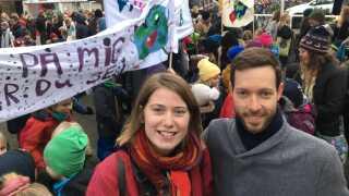 En af arrangørerne af demonstrationen er Rosanne Børsting Sørensen og studerende Birk Skyum, der i dag demonstrerede i Aarhus.