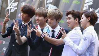 Det sydkoreanske boyband B1A4 til den tredje 'KCON K-Pop Convention' i Los Angeles, USA, i 2014.