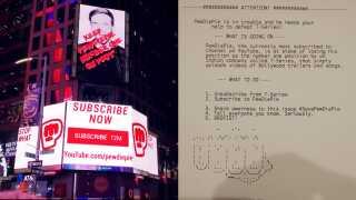 Folk har ikke været blege for at tage vilde midler i brug, når det kommer til promoveringen af PewDiePie. Her er det Time Squares største reklametavle og en udskrift fra én af 50.000 hackede printere.