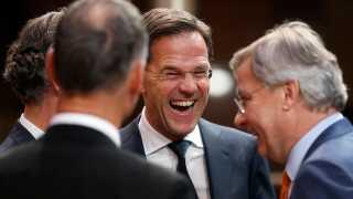 Den hollandske premierminister, Mark Rutte, efter de timelange forhandlinger.