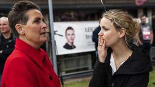 Pia Olsen Dyhr (SF) og Pernille Skipper (Ø) var 1. maj begge på talerstolen i Kastrup.