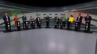 Sådan så det ud, da spidskandidaterne til EP-valget tørnede sammen på DR.
