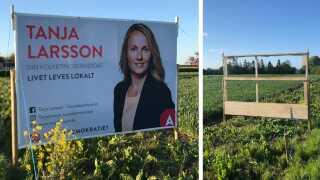 Der var ikke meget valgplakat tilbage, dagen efter Tanja Larsson havde hængt et stort banner og ti valgplakater op på en mark i Hårlev. Gerningsmændene havde dog ryddet op efter sig selv, så der var ikke spor af resterne fra valgmaterialet.