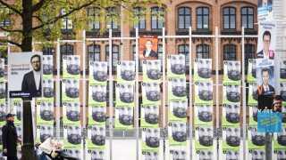 Valgplakat for Rolf Bjerre fra Alternativet og Stig Grenov fra Kristendemokraterne i København under Europaparlamentsvalget og Folketingsvalget, søndag den 12. maj 2019. EP-valget afholdes den 26. maj og Folketingsvalget afholdes den 5. juni.. (Foto: Kristian Djurhuus/Ritzau Scanpix)