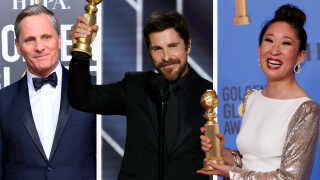 Dansk-amerikanske Viggo Mortensen (tv.) fik masser af ros, men ingen skuespillerpris. Det gjorde til gengæld Christian Bale (i midten) og Sandra Oh (th.).