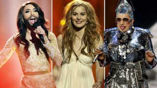 Eurovision har gennem årene budt på et hav af mere eller mindre farverige karakterer. Her ses østrigske Conchita Wurst (tv.) i 2014, danske Emmelie de Forest (i midten) i 2013 og ukrainske Verka Serduchka i 2007.