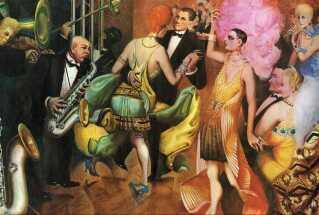 Maleriet 'Storby' af ekspressionisten Otto Dix er i sin helhed på tre paneler, ligesom på altertavler. Derfor blev det set som temmelig profant, at han på siderne afbildede krigsveteraner og grupper af prostituerede fra forskellige samfundsklasser, og i midten blæste et jazzband og festende berlinere i hovedet på beskueren.