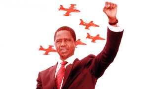 Zambias præsident, Edgar Lungu og det zambiske luftvåben.