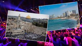 Både Jerusalem (tv.) og Tel Aviv (th.) var i spil til rollen som årets Eurovision-værtsby. I sidste ende løb Tel Aviv med det ærefulde hverv.