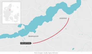 Skitse af regeringen og Dansk Folkepartis planer for en omfartsvej ved Mariager mod Assens.