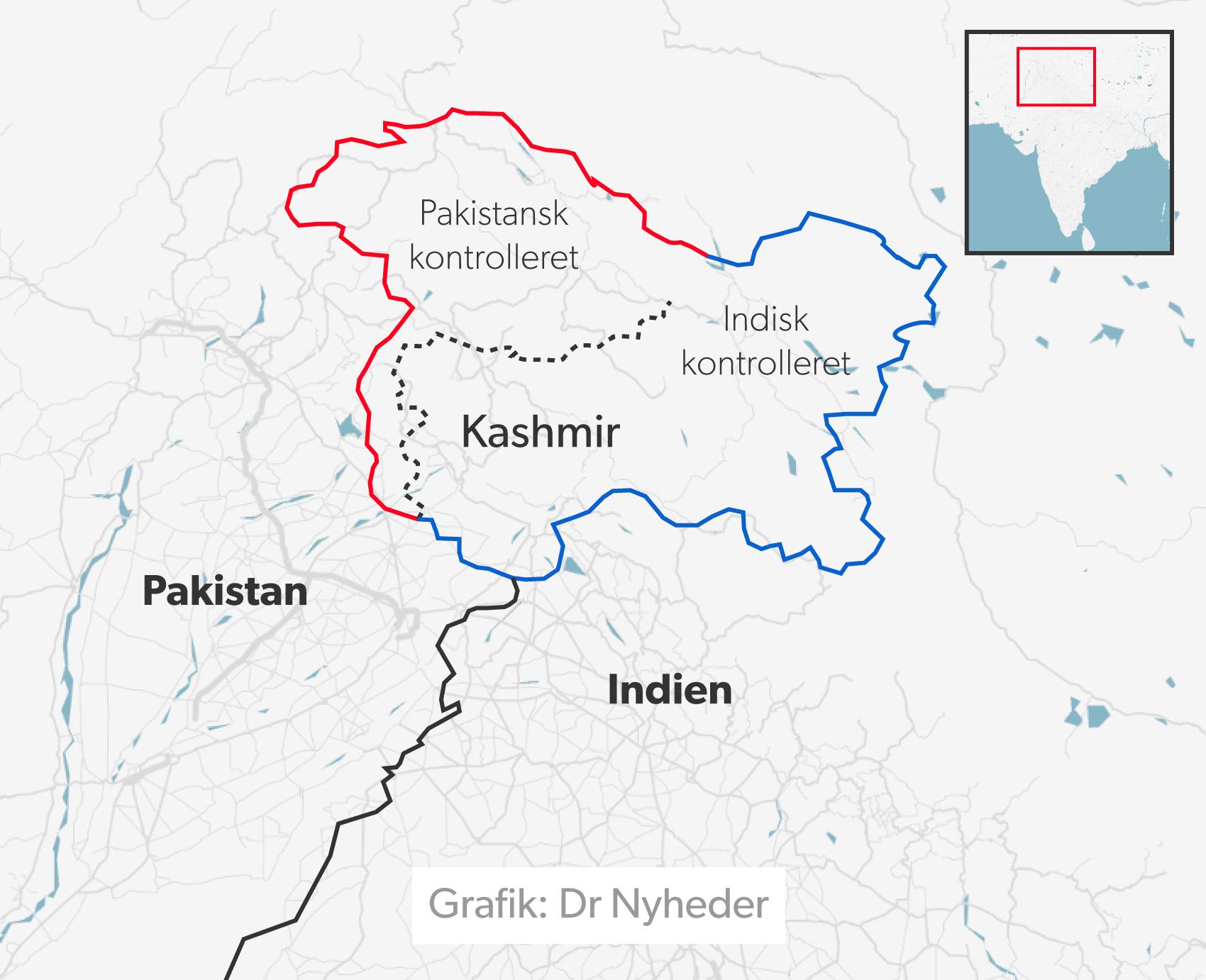 Indien og Pakistan kontrollerer begge dele af Kashmir.